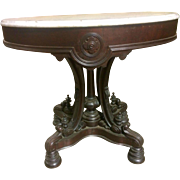 Rosewood Victorian Marble Top Foyer Lamp Table
