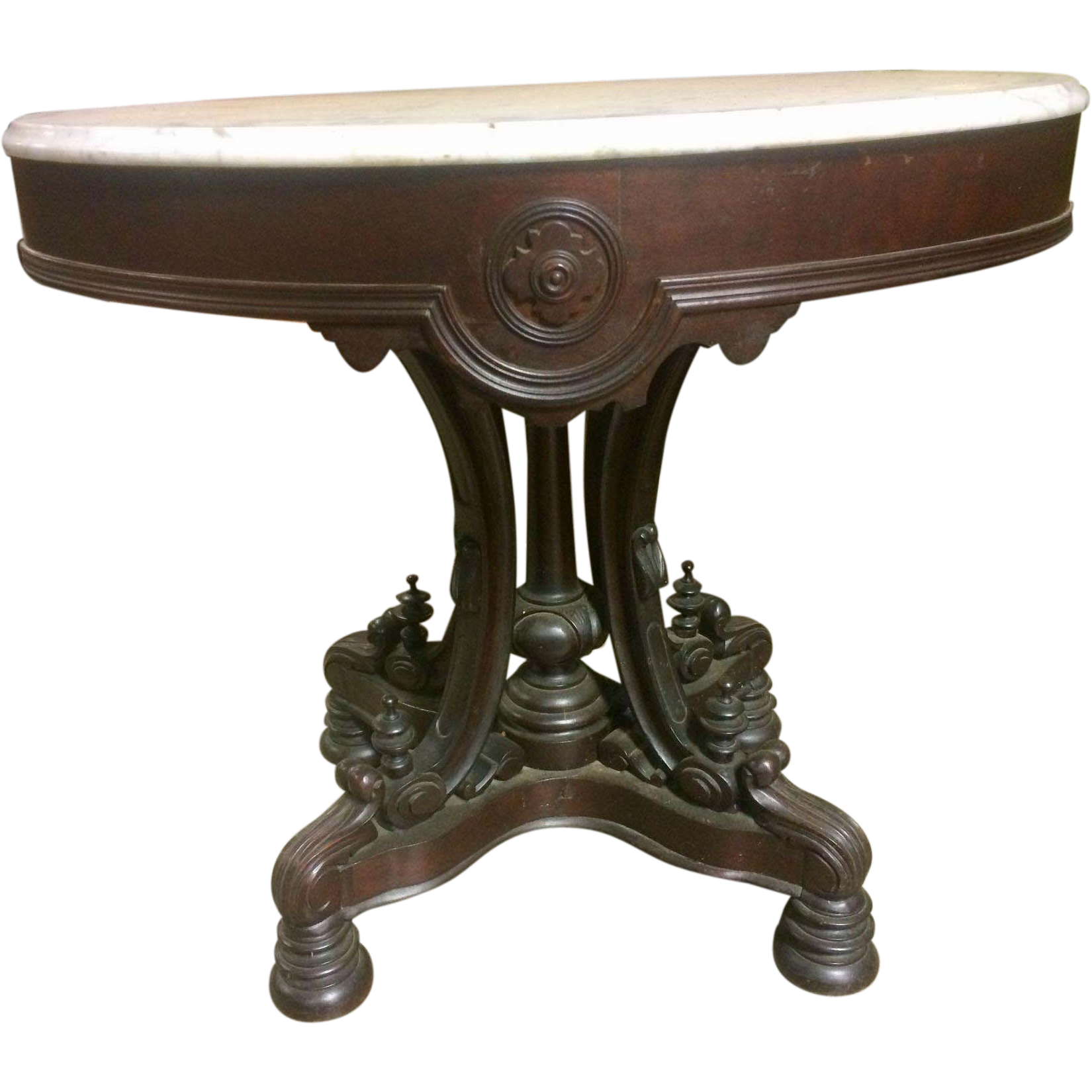 Foyer Table Oval : Rosewood victorian marble top foyer lamp table from