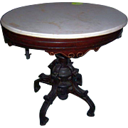 Victorian oval marble top foyer table