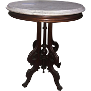 Walnut marble top lamp table or end table