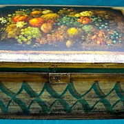 Exceptional Peter Ompir American Folk Art Hand-Painted 19thC Dome-Top Trunk