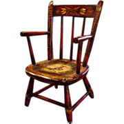 Genuine Peter Ompir American Folk Art Hand-Painted Antique 19thC Child's Chair