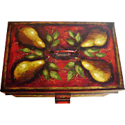 Signed Wrede [Associate of Ompir 1904-1979] American Folk Art Hand-Painted Antique 19thC Tin Deed Box