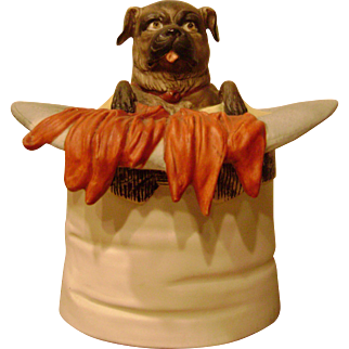 Unusual Circa 1890 German Bisque Chow Dog Humidor