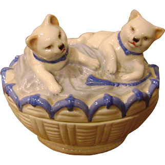 "Antique 19thC German Porcelain ""Fairing"" - Pair Of White Cats In A Basket Figurine"