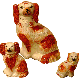 Handsome c1870 Set Of Three English King Charles Staffordshire Spaniels