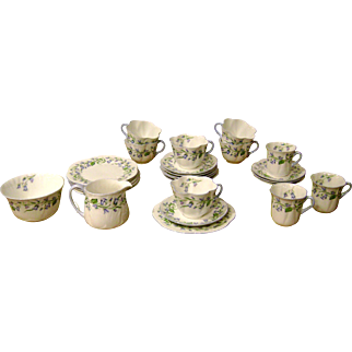 "Circa 1960 Shelley Fine Bone China ""Trio"" Set In Harebell Design....26 Pieces"