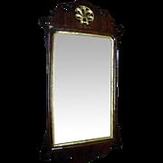 Rare Circa 1765-1773 'Looking Glass' Mirror In Pine With Walnut Veneer