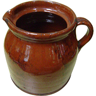 Genuine, Antique c1770-1800 New Enlgand Redware Pitcher with Manganese Decoration in Unusual Form