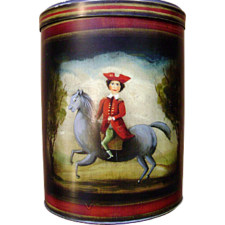 Genuine John Dunn [1954-2016] Folk Art Hand Painted Antique Tin Canister Featuring Soldier On Horseback Image & Pears
