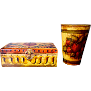 Genuine Peter Ompir Folk Art Hand Painted Antique Tin Beaker & Wooden Keepsake Box (2 Pieces)