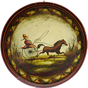 CLOSING SALE ! Genuine Peter Ompir Folk Art Hand Painted Antique Tole Tray Featuring Outstanding Horse & Driver Scene