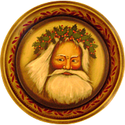 SALE ! Genuine John Dunn[1944-2016] Folk Art Hand Painted Antique Holiday Pie Tin Featuring Outstanding Father Christmas Image