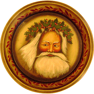 Genuine John Dunn[1954-2016] Folk Art Hand Painted Antique Holiday Pie Tin Featuring Outstanding Father Christmas Image