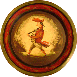 Genuine Peter Ompir Folk Art Hand Painted Antique Pie Tin Featuring Soldier & Cannon Image