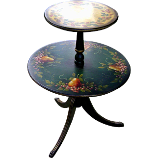 Rare, Genuine John Dunn [1954-2015] Folk Art Hand Painted Antique 2-Tier Splay-Legged Table Featuring Outstanding Pear & Grape Design