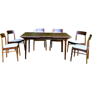 SALE !!  c1960 Mid-Century Modern Ostervig Solid Rosewood Rectangular Dining Room Table w 2 Leaves and 6 Chairs