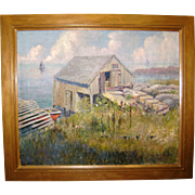 """Exquisite Oil On Canvas Seascape by Bert Poole """"Lobster Shanty"""" In Original Frame, Signed & Dated"""