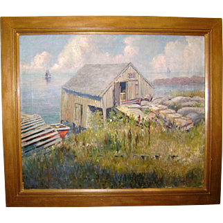 "Exquisite Oil On Canvas Seascape by Bert Poole ""Lobster Shanty"" In Original Frame, Signed & Dated"