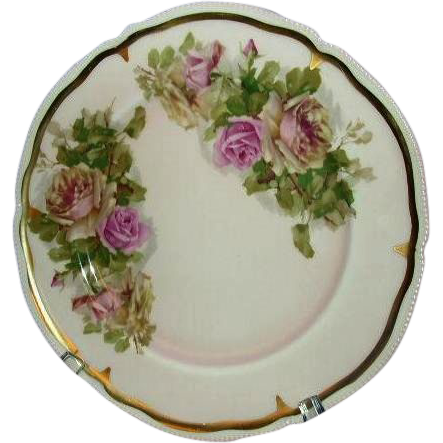 Imperial Porzelan Plate, Pink Roses, Embossed Beading, Gold Trim