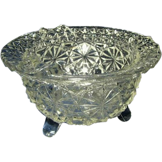 Daisy and Button Clear Glass Footed Ashtray