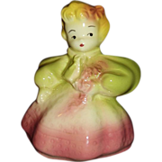Blonde Girl Figural Planter in Pink and Green Dress Mint Condition