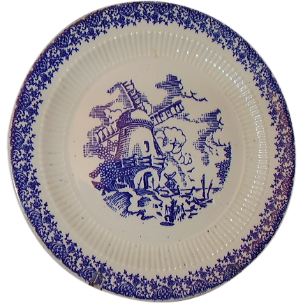 Royal China English Ironstone Windmill Plate Blue and White