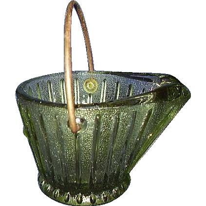 Green Glass Coal Bucket Ash Tray