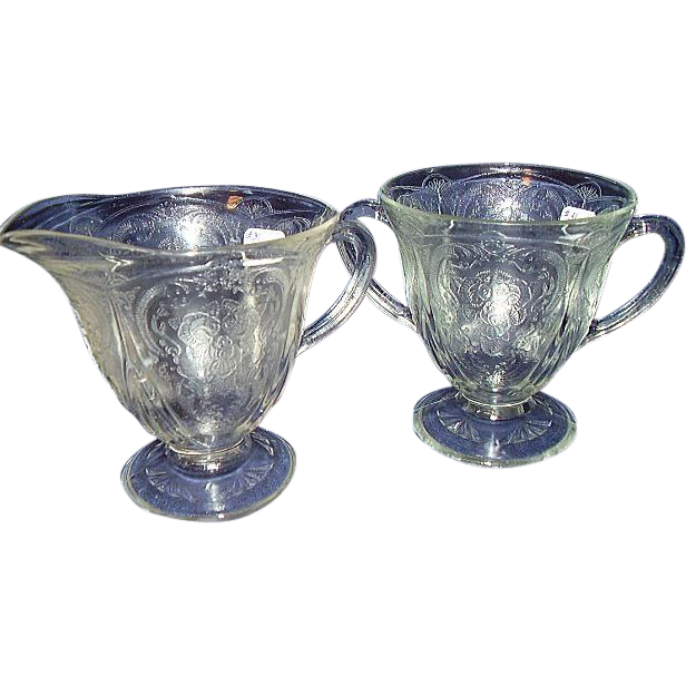 Depression Glass Clear Footed Sugar and Creamer