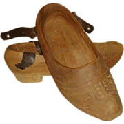 Wooden Shoes Girls with Leather Ankle Straps