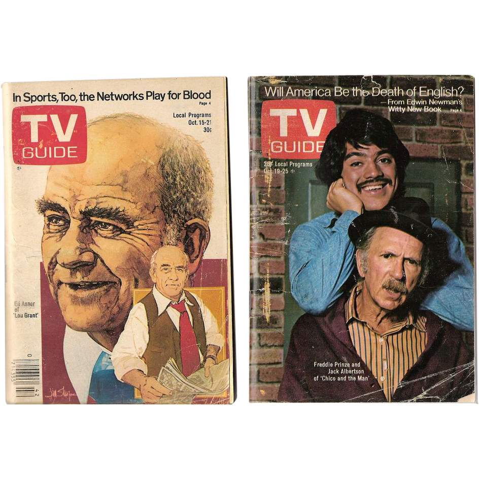TV Guides Freddie Prinze of Chico and the Man 1974 and Ed Asner of Lou Grant 1977
