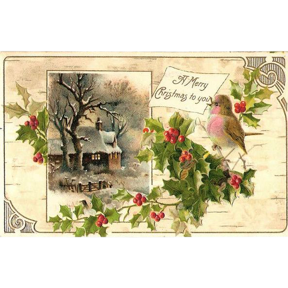 1908 Embossed Christmas Post Card - Snowy Woodland Cottage Scene