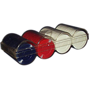 Hoyle Plastic Poker Chips ~ Red, White, Blue Set in Case