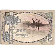 1911 Embossed Easter Post Card with Windmill