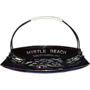 1960s Myrtle Beach, SC Souvenir Tray Wrapped Handle