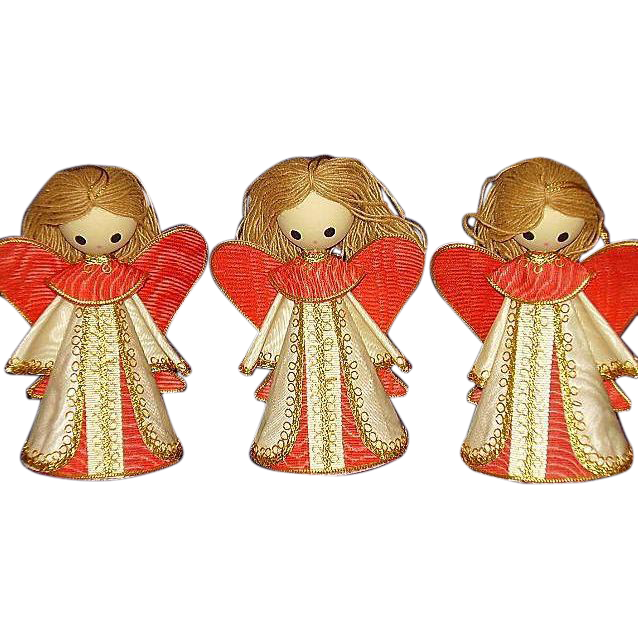 Angel Christmas Ornaments ~ Vintage Set of 3 ~ Made in Japan
