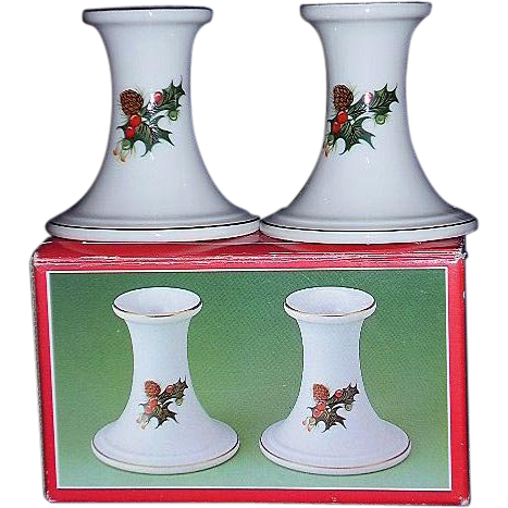 Woolworths Holiday Candle Holders Holly Leaves Red Berries in Original Box Japan