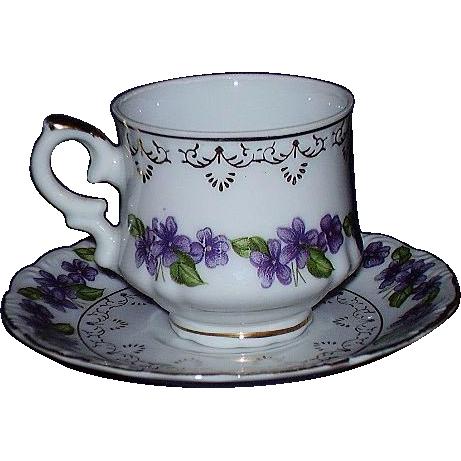 Inarco Demitasse Cup Saucer Violets Garland Japan