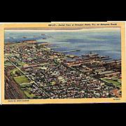 1947 Curteich Linen Postcard ~ Aerial View of Newport News, VA on Hampton Roads