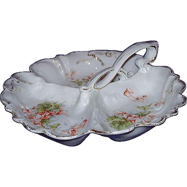 Porcelain Handpainted Moriage Florals Nappy