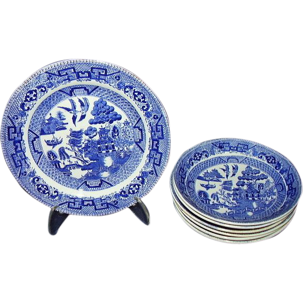 Ridgway Blue Willow Semi China Staffordshire 7-Piece Grouping