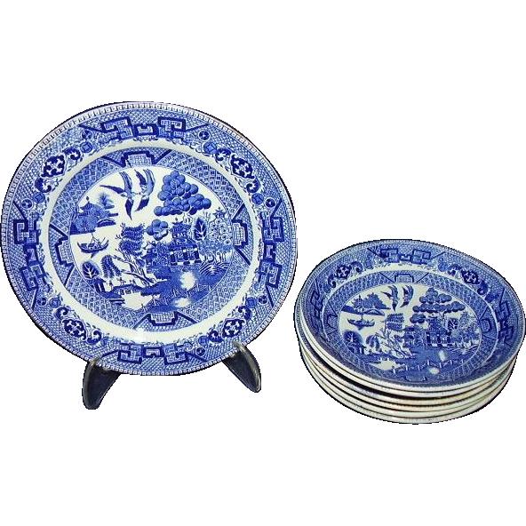 Ridgway Blue Willow Semi China Staffordshire 7-Piece Grouping