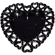 Black Glass Heart Edge Heart Shaped Dish