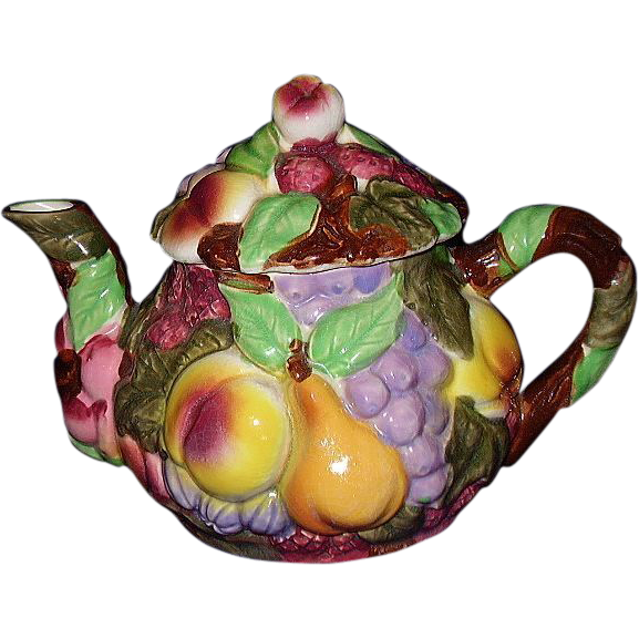 Majolica Fruit Tea Pot, Japan