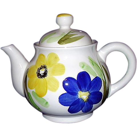 Delightful Enesco Tea Pot, White with Blue and Yellow Flowers, Japan