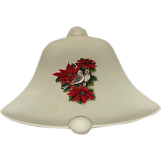 Holiday Serving Dish Bell Shaped, Poinsettias and Doves