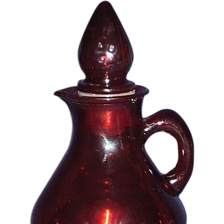 Avon Ruby Red Glass Cruet Strawberry Bath Foam Bottle