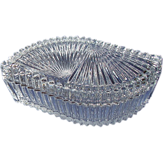 Clear Glass Fan Shaped Covered Candy Dish or Vanity Dish