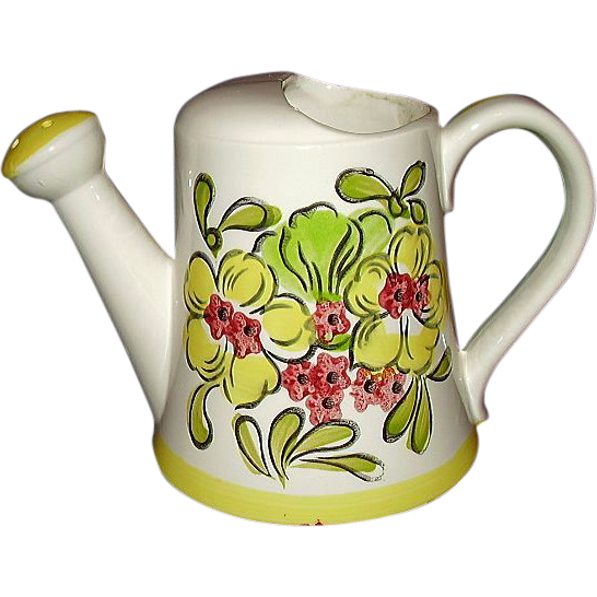 Ceramic Watering Can, Bright Yellow Florals, Made in Japan