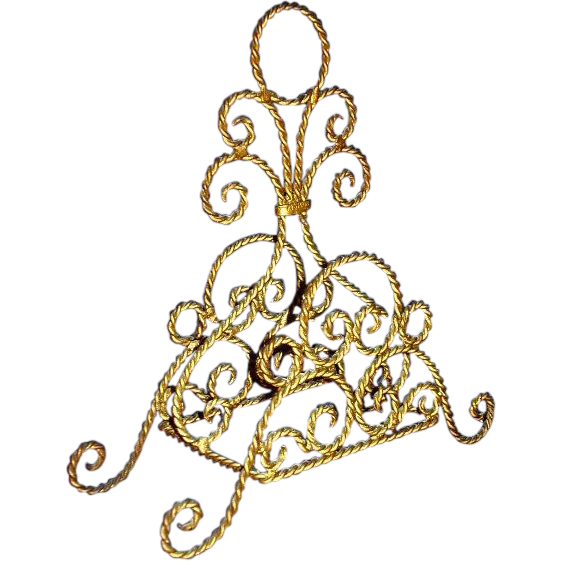 Victorian Style Twisted Wire Letter or Napkin Holder, Made in Spain